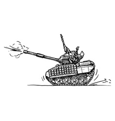 Tank in comics style vector