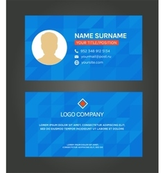 Business card template blue pattern design vector