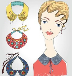 Fashion girl with set of collars vector image