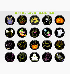 a happy halloween user interface icon set vector image vector image