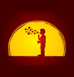 A little boy blowing soap bubbles vector