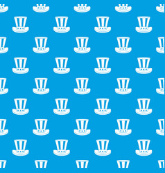 american hat pattern seamless blue vector image vector image