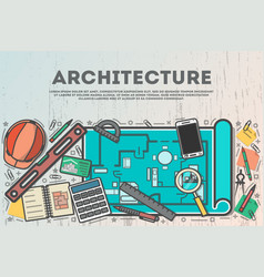 Architecture top view banner in line art style vector