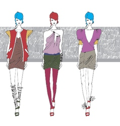 Artistic fashion sketch vector