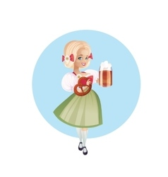 Attractive woman in dirndl with beers vector