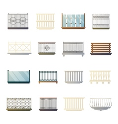 Balcony Railings Design Flat Icons Collection vector image vector image