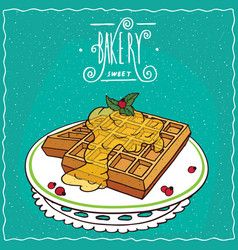Belgian waffles with honey on lacy napkin vector