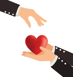 Business hand giving heart love concept vector