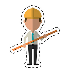 Cartoon architec man construction ruler vector