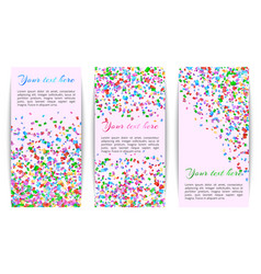 Collection of banners with confetti vector