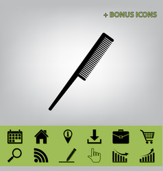 Comb sign black icon at gray background vector