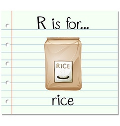 Flashcard alphabet r is for rice vector