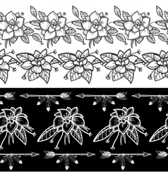 Flowers and feather arrows seamless borders vector