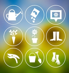 Garden tools icons on blurred background vector