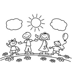 hand drawn stick figure happy family vector image vector image