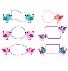 Little birds hold paper forms vector image vector image