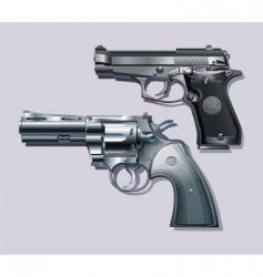 machine pistol and revolver vector image