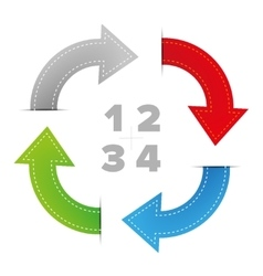 One two three four steps diagram with arrows vector