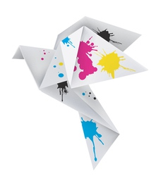 Origami dove with splashes of ink vector image