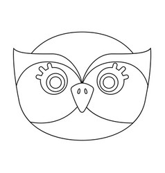 owl muzzle icon in outline style isolated on white vector image vector image