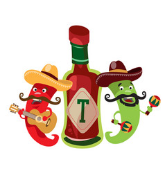 Peppers and the hot mexican sauce vector