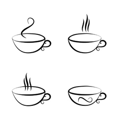 set of cups isolated vector image