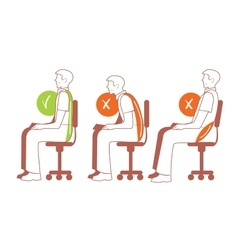 Sitting positions correct spine posture vector