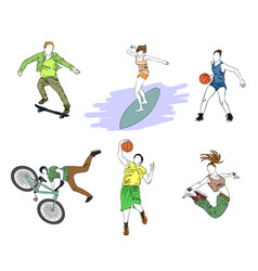 six teenagers silhouettes vector image