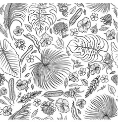 sketch black and white set seamless pattern vector image vector image