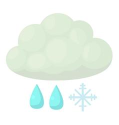 Snow and rain icon cartoon style vector