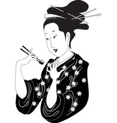 Sushi woman vector