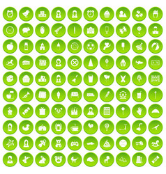 100 child center icons set green circle vector