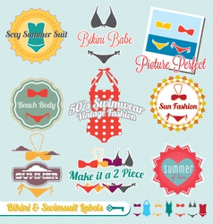 Bikini and swimsuit labels vector