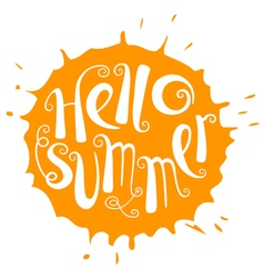 Hello summer lettering with sun vector