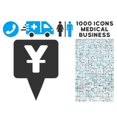 Yuan map pointer icon with 1000 medical business vector