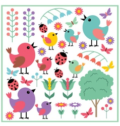 Scrapbook elements with birds and insects vector