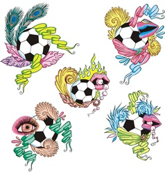 Stylized soccer balls with ribbons vector