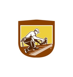 Roofer roofing worker crest shield retro vector