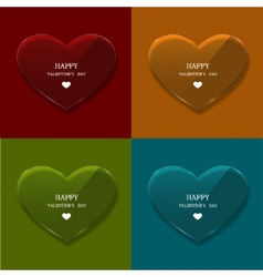 Glass heart set on sample background vector