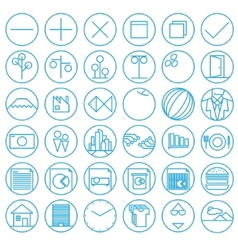 Icons with flat and wire style vector