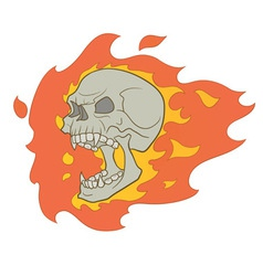 skull with fire vector image