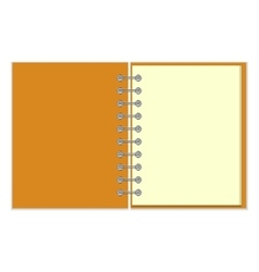 Open empty notebook with orange cover vector