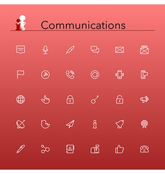 Communications line icons vector