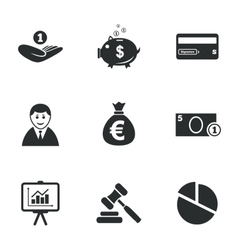 Money cash and finance icons piggy bank sign vector