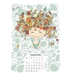 Calendar 2016 september month season girls vector