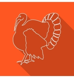 Icon contour turkey flat style long shadows vector
