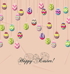 Happy easter card colorful eggs vector