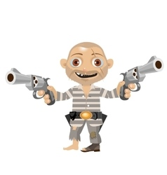 Escaped convict cartoon character of wild west vector