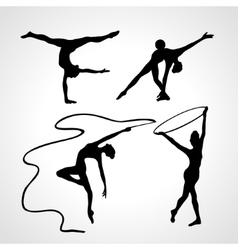 Silhouettes of gymnastic girls art gymnastics vector