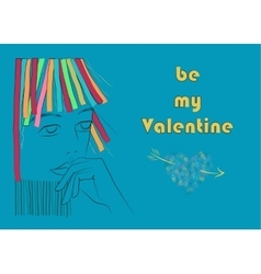 Be my Valentine Girl with colorful hair vector image